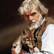 Dr. LL Rue III and wolf pup